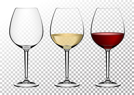 Set transparent vector wine glasses empty, with white and red wine. Vector illustration in photorealistic style.