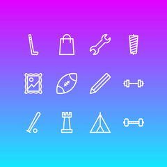 Vector illustration of 12 entertainment icons line style. Editable set of sewing, picture, dumbbell and other icon elements.