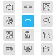 Vector illustration of 12 film icons line style. Editable set of megaphone, popcorn, television and other icon elements.
