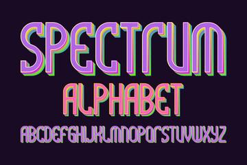 Spectrum alphabet. Iridescent colorful font. Isolated english alphabet.