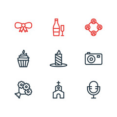 Vector illustration of 9 events icons line style. Editable set of church, mic, cupcake and other icon elements.