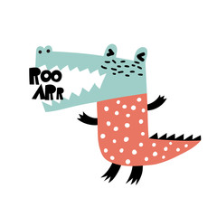 Angry dino. Cartoon creative alligator vector illustration in scandinavian style. Vector Illustration. Can be used print print for t-shirts, home decor, posters, cards.