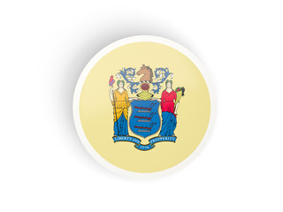 Round bended icon with flag of new jersey. United states local flags