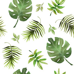 Seamless hand drawn  tropic pattern on white background