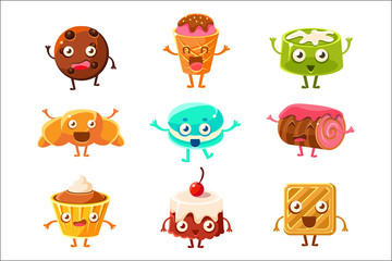 Set of funny dessert characters - croissant, cupcake, cake, tiramisu, pretzel, macaroon, cartoon style vector illustration . Cute smiley sweets, dessert characters