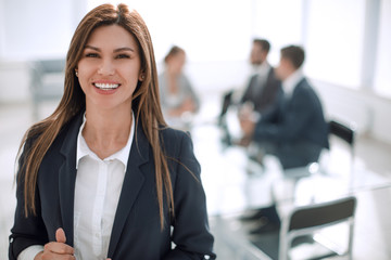 young business woman on the background of the office Wall mural