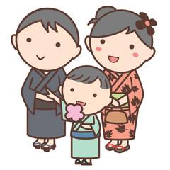 浴衣を着た家族のイラスト