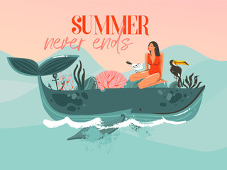 Hand drawn vector abstract cartoon summer time graphic illustrations template card with girl,whale on blue waves and modern typography Summer never ends isolated on pink sunset background
