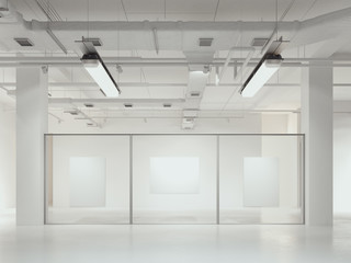 Three canvas placards in showroom, 3d rendering.
