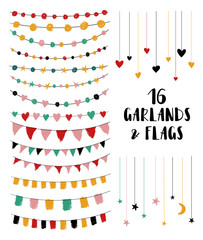 Set Of Garlands And Flags.
