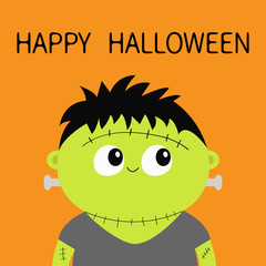 Frankenstein monster. Happy Halloween. Cute cartoon funny spooky baby character. Green head face. Greeting card. Flat design. Orange background. Isolated.