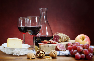 Salami, cheese, grapes and red wine