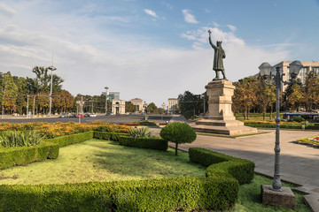Stefan cel Mare statue. Famous place in Chisinau city, Moldova.