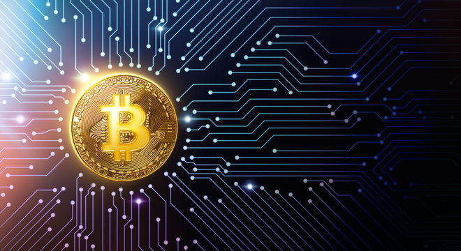 Golden bitcoin on circuit board