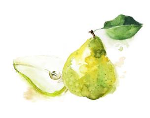 Green pear watercolor sketch