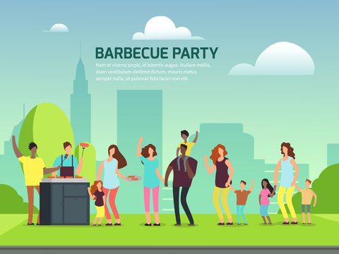 Barbeque party design. Cartoon character families in park vector illustration