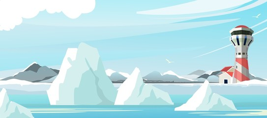 seascape lighthouse icebergs