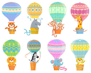 Collection  with colorful  hot air balloons and animals. Set with kids fly transport. Vector illustration on white background.
