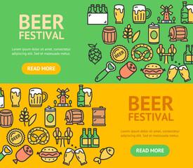 Beer and Oktoberfest Signs Banner Horizontal Set. Vector