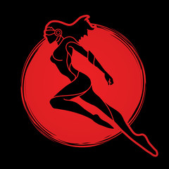Superhero flying action, Cartoon superhero woman jumping graphic vector.