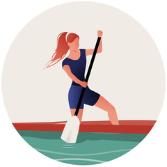 Athlete girl with hair in the wind practicing sporty rowing in a canoe