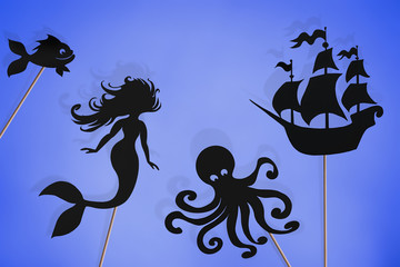 Mermaid storytelling, shadow puppets