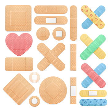 Realistic Detailed 3d Color Aid Band Plaster Medical Patch Set. Vector