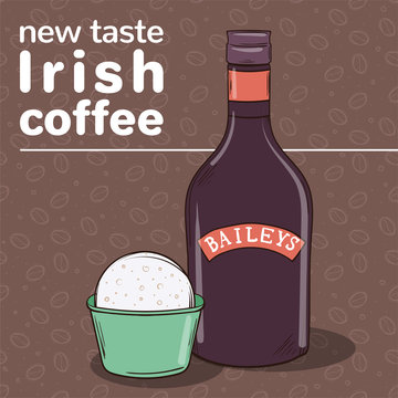 Hand-drawn vector illustration of ice cream ball in cup and bottle of Baileys. Irish coffee taste of ice cream.