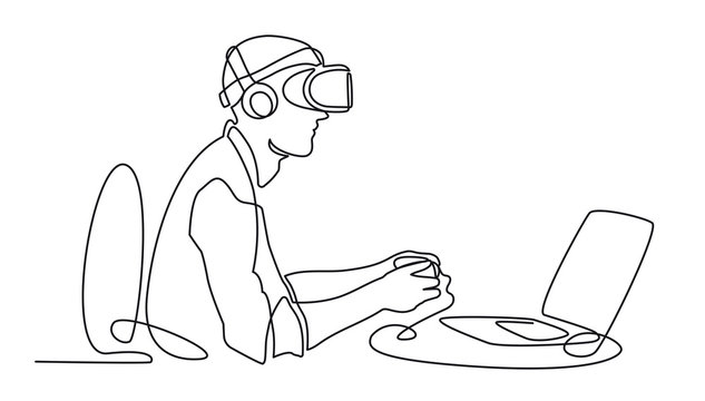 Continuous one line drawing Man in glasses device virtual reality working behind computer, VR Headset Icon vector simple outline illustration