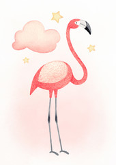 Watercolor illustration of a flamingo. Perfect for greeting card