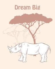 Quotes Poster with Rhinoceros Savanna Anima