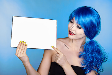 Portrait of young woman in comic  pop art make-up style. Female with paper in hands
