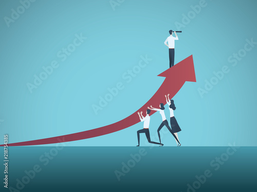 Business Success Vector Concept Teamwork To Achieve Great Results