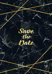 Save thr Date Card with Gold Geometric Frame
