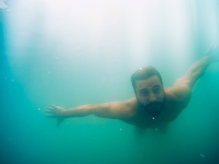 Man underwater diving
