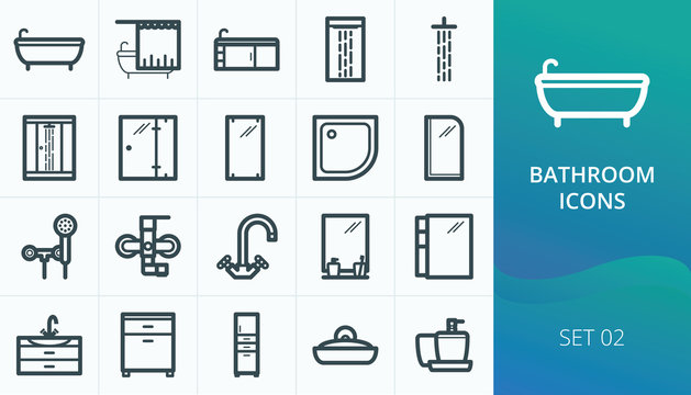 Bathroom and sanitary icons set. Set of bath, shower cabin, faucets, bathroom furniture icons