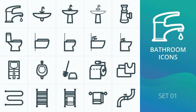 Bathroom and restroom icons, sanitary icons set. Set of faucet, sink, toilet bowl, bidet, washbasin,  towel warmer