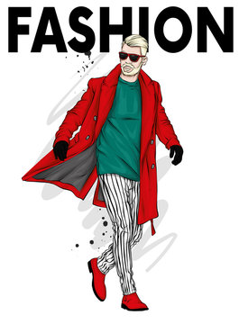 A handsome man in a long coat, trousers, shoes and glasses. Fashionable look. Vector illustration for a postcard or a poster, print for clothes. Fashion & Style.