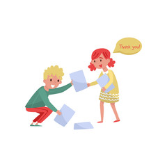 Smiling boy helping girl to picking up paper from the floor. Kids with good manners. Flat vector design