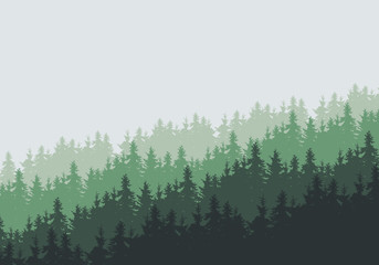 Vector illustration of a dense coniferous forest on a hill under a cloudy green sky - with space for text