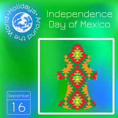Independence Day of Mexico. istoric Bell Mexico on the texture with a national pattern. Series calendar. Holidays Around the World. Event of each day of the year.