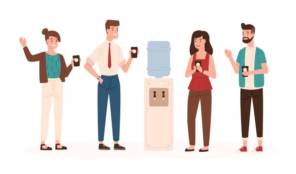 Office workers or colleagues standing near water cooler or dispenser, drinking and chatting. Smiling male and female clerks talking during coffee break. Vector illustration in flat cartoon style.