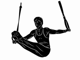 illustration of gymnast on still rings, vector draw