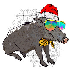 Cool christmas poster. Boar in New Year's suit. Poster for New Year party.