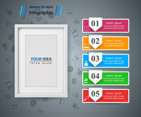 Frame, photo. Five items - paper infographic Vector eps 10