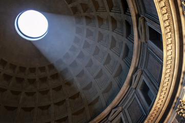 Wall Mural - Light beam in the dome of the Pantheon of Rome, Italy
