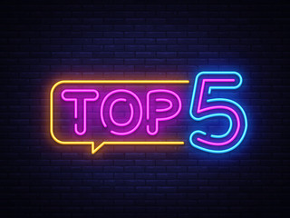Fototapeta Top 5 Neon Text Vector. Top Five neon sign, design template, modern trend design, night neon signboard, night bright advertising, light banner, light art. Vector illustration