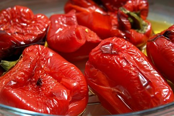 Grilled sweet red pepper in glass form