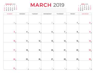 March 2019. Calendar planner stationery design template. Vector illustration. Week starts on Sunday