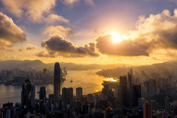 Fototapete - Hong Kong City skyline at sunrise